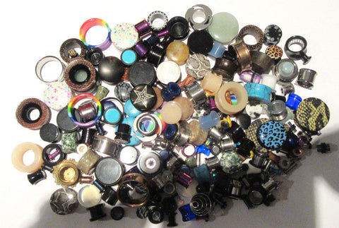 100 Pair Wholesale Lot Lobe Plugs Tunnels from 8g to 1 inch Excellent Reseller - I Love My Piercings!