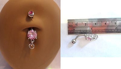 Surgical Steel Add Your Own Charm Belly Navel Ring Pink Crystal Gem 14 gauge 14g - I Love My Piercings!