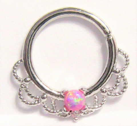 Surgical Steel Filigree Pink Opal Hoop Seamless 16 gauge