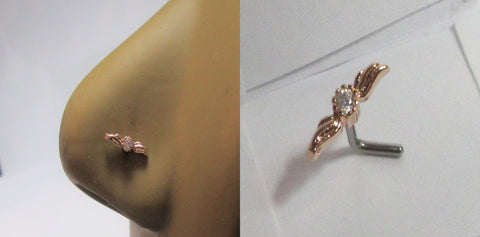 18k Rose Gold Plated Clear Crystal Wings Nose L Shape Pin Post Stud 20 gauge