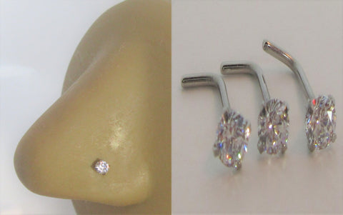 3 Piece Crystal Surgical Steel Nose L Shape Bent Nose Studs 20 gauge 20g