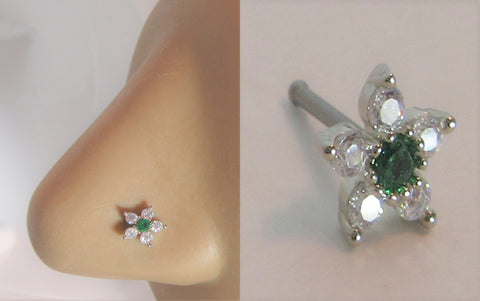 Surgical Steel Clear Green Crystal Loaded Flower Ball End Nose Bone Stud 20 gauge