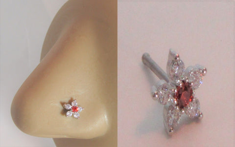 Surgical Steel Clear Red Crystal Loaded Flower Ball End Nose Bone Stud 20 gauge