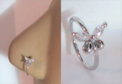 Butterfly Seamless Nose Jewelry Hoop Ring Clear Crystal Gem Wings