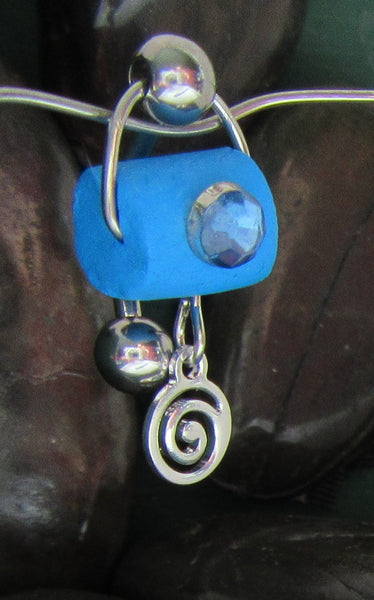 Stainless Steel Aqua Swirl Dangle Barbell VCH Clit Clitoral Hood Ring 14 gauge