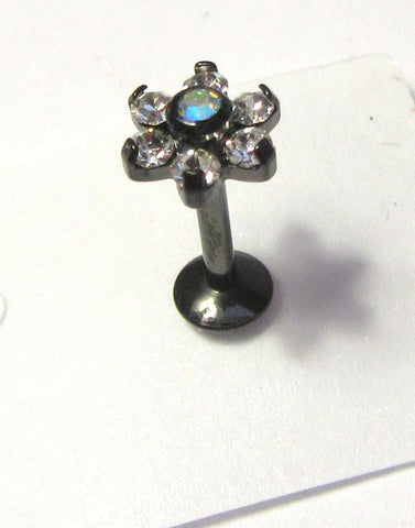 Black Titanium Cartilage Lip Earring Clear Crystal Flower Stud Bar 16 gauge 16g