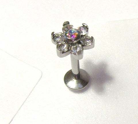 Surgical Steel Cartilage Lip Earring Clear Crystal Flower Stud Bar 16 gauge 16g
