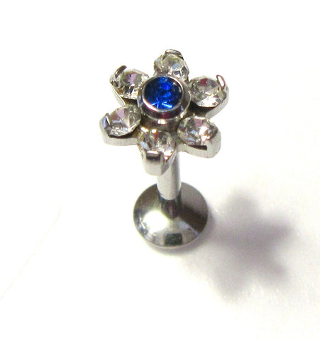 Surgical Steel Cartilage Lip Earring Clear Blue Crystal Flower Stud Bar 16 gauge