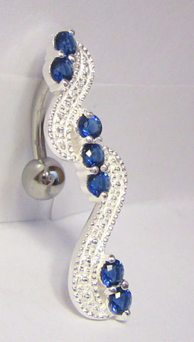 Sterling Silver VCH Hood Clit Bar Ring Long Shield Blue Crystals CZ 14 gauge 14g