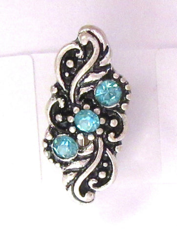 VCH Hood Shield Curved Barbell Antique Style Triple Aqua CZ Shield 14 gauge 14g
