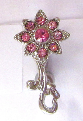 VCH Clit Hood Shield Curved Barbell Pink Crystal Filigree Flower 14 gauge 14g