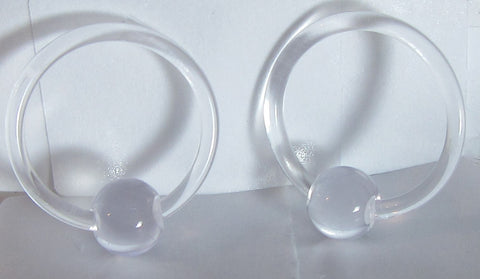 Clear Bioplast Metal Sensitive Plastic Acrylic Hoops Retainers Rings 14 gauge 12mm Diameter