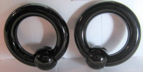 Black Bioplast Metal Sensitive Acrylic Hoops Retainers Rings 4 gauge 16 mm Diameter