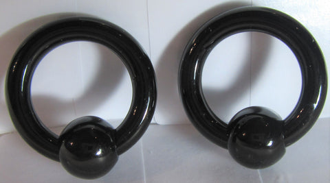 Black Bioplast Metal Sensitive Acrylic Hoops Retainers Rings 6 gauge 16 mm Diameter