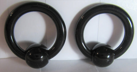Black Bioplast Metal Sensitive Acrylic Hoops Retainers Rings 8 gauge 12 mm Diameter