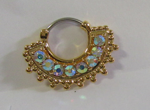 18k Gold Plated Loaded Iridescent Crystal Snap In Steel Post Hoop 16 gauge 16g