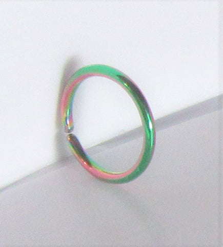 Small Little Tiny Rainbow Titanium Plated Seamless Hoop Barbell 20 gauge 20g