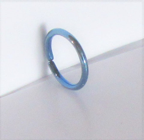 Small Little Tiny Blue Titanium Plated Seamless Hoop Barbell 20 gauge 20g