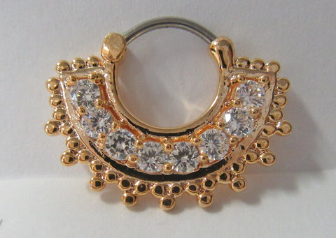 18k Gold Plated Loaded Clear Crystal Snap In Steel Post Hoop 16 gauge 16g