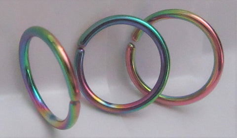 3 Pc Rainbow Titanium Plated Seamless Continuous Hoop Ring 16 gauge 16g 10 mm diameter