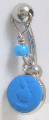 Surgical Steel Blue Bunny Dangle VCH Hood Clit Clitoral Ring Bar 14 gauge 14g