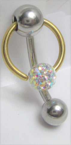 Surgical Steel Gold AB Crystal Ball Hoop Dangle VCH Vertical Clit Hood Bar 14g