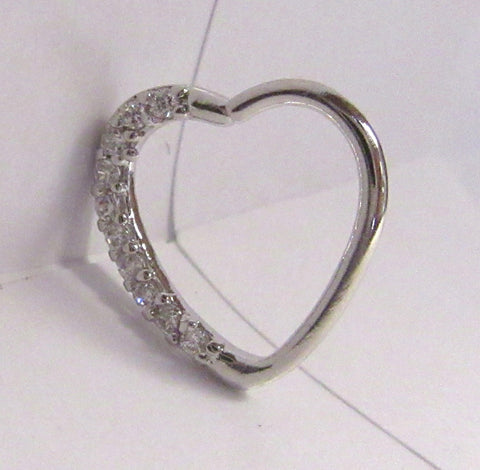 Surgical Steel Loaded Crystal Heart Cartilage Hoop Ring Seamless 16 gauge 16g