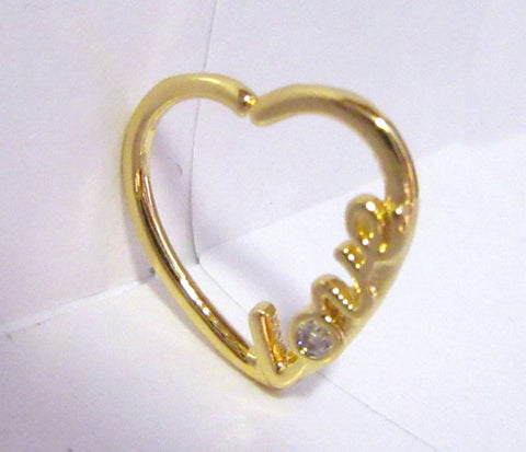 18k Yellow Gold Love Heart Cartilage Hoop Ring Seamless 16 gauge 16g
