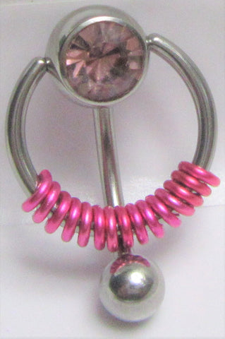 Light Purple Pressure Gem Ball Fuchsia Coiled VCH Clitoral Clit Hood Ring 14g