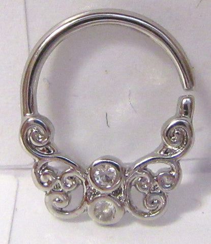 Surgical Steel 9 mm Filigree Hoop 16 gauge