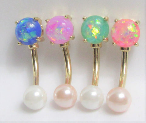 Solitaire Opal 14K Gold Plated Pearl Ball VCH Vertical Clitoral Clit Hood Ring Bar 14g Gauge