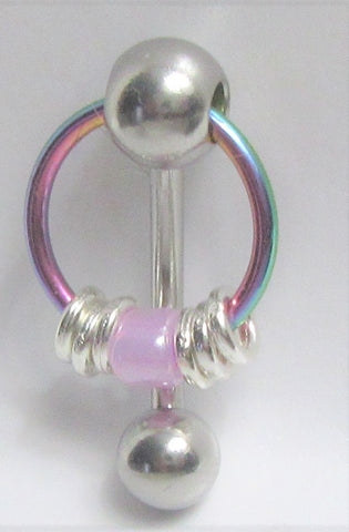 VCH Intimate Jewelry Silver Hoops with Purple Bead Dangle Vertical Clitoral Hood Bar 14g