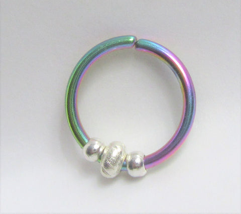 Jump Bead Oil Slick Seamless Ear Cartilage Earring Hoop 16G 16 Gauge