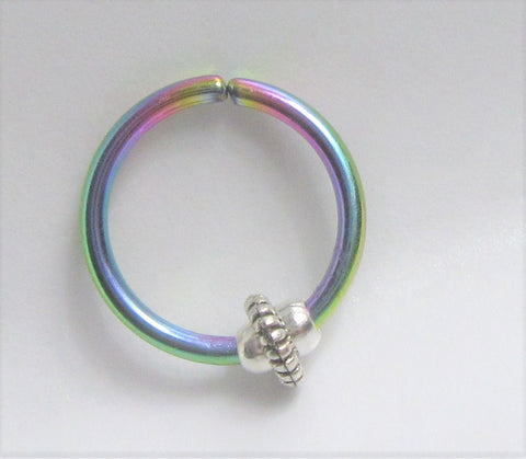 Jammed Jump Bead Oil Slick Seamless Ear Cartilage Earring Hoop 16G 16 Gauge
