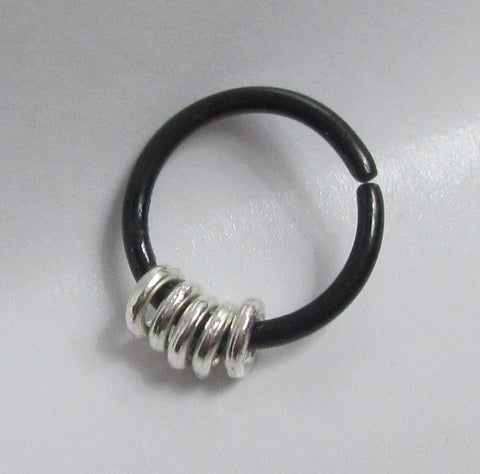 Black Titanium16G Seameless Steel Hoop Cluster Ear Cartilage Ring 16 Gauge