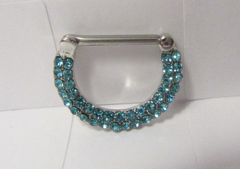 Surgical Steel Loaded Aqua Crystal Half Hoop Nipple Straight Barbell 14 gauge