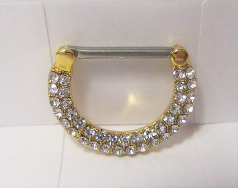 18k Gold Plated Loaded Clear Crystal Half Hoop Nipple Straight Barbell 14 gauge