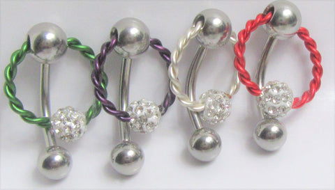 Surgical Steel Twisted Hoop with Crystal Ball VCH Jewelry Vertical Clitoral Clit Hood Barbell Ring 14G