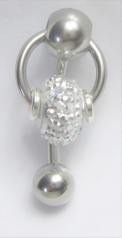 Surgical Steel Loaded Crystal Dangle Hoop VCH Jewelry Vertical Clitoral Clit Hood Barbell Ring 14G