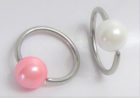 White or Pink Pearl Inner Outer Labia VCH Clitoral Clit Hood Ring Hoop 16G
