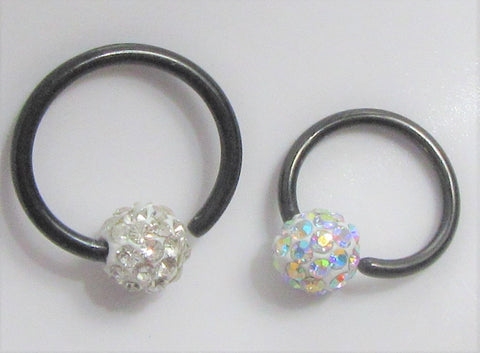 Black Titanium Gem Crystal CZ Clear AB Stone Ball Round Hoop Ring 16G 16 gauge