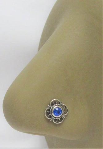 Sterling Silver Blue Victorian Style Nose Bent L Shape Stud Pin Post 20 gauge 20g