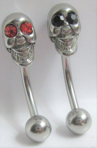 Surgical Steel Red Eye Skull Christina VCH Vertical Clitoral Hood Bar Ring Post 14G