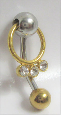 Gold Titanium Clear Crystal Gem Hoop Dangle VCH Vertical Clitoral Hood Bar 14g