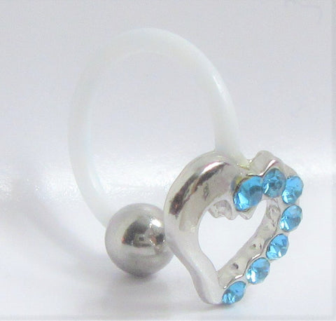 Flexible Metal Sensitive Aqua Gem Heart No Metal Bar Ring Bioplast Horseshoe 14g
