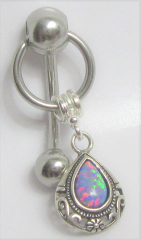 Mauve Opal Ornate Dangle VCH Vertical Clitoral Clit Hood Bar Post Ring 14g