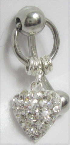 Puffed Heart Clear Crystal Gem Dangle VCH Vertical Clitoral Clit Hood Bar Post Ring 14g