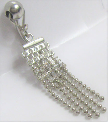 Surgical Steel Clear Crystal Beaded Dangle VCH Vertical Clitoral Clit Hood Bar Post Ring 14g