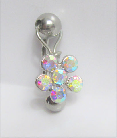 Surgical Steel Iridescent Daisy Flower Dangle VCH Vertical Clitoral Clit Hood Bar Post Ring 14g
