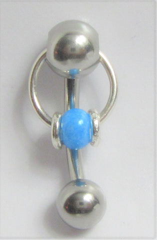 Pearled Blue Accents Dangle VCH Vertical Clitoral Clit Hood Bar Post Ring 14g